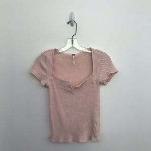 Free People v-neck ribbed Short Sleeve Top
